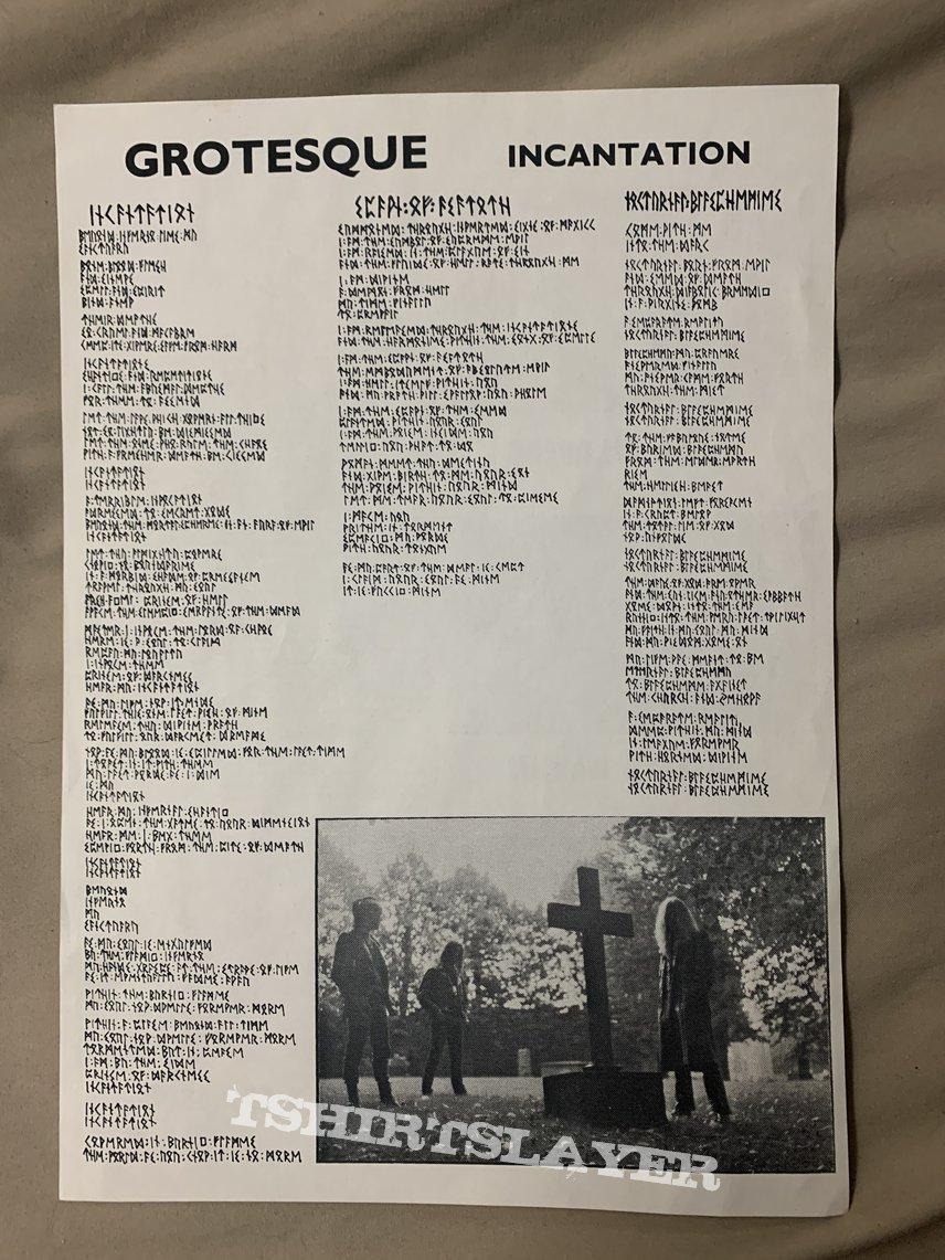 Grotesque Incantation 1st press with lyrics sheet