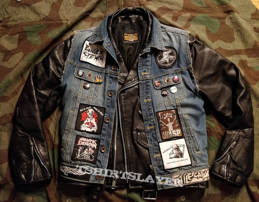 denim and leather battle jacket