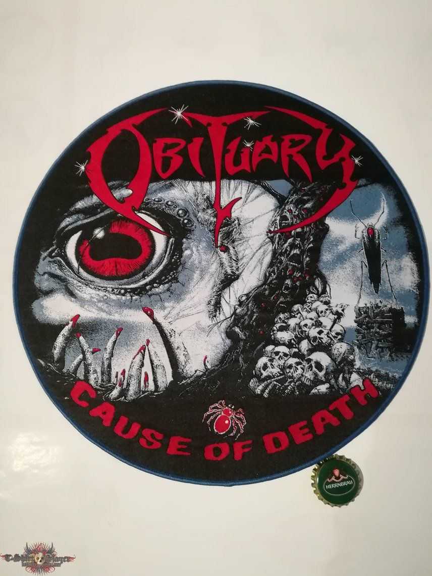 """Obituary """"Cause of Death"""" Backpatch woven blue border"""