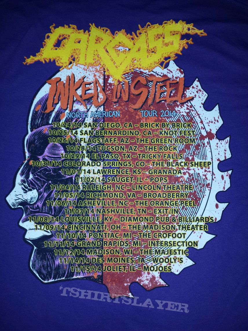 Carcass - Inked in Steel tour shirt