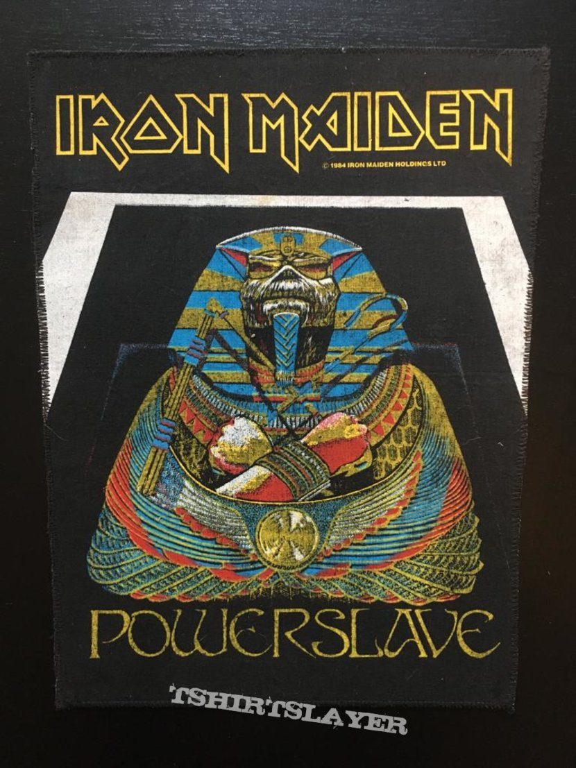 Iron Maiden - Powerslave - Back Patch 1984 (White Coffin - Blue version)