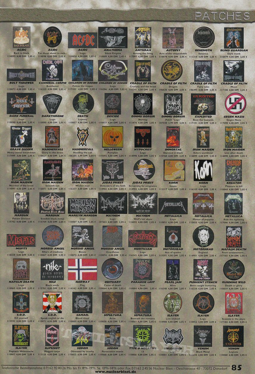 Other Collectable - Nuclear Blast Katalog Mai and Autumn 2001 - Pages with patches.