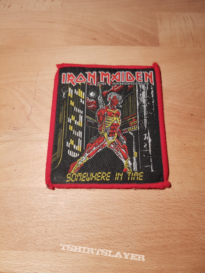 Iron Maiden - Somewhere In Time - vintage red border patch