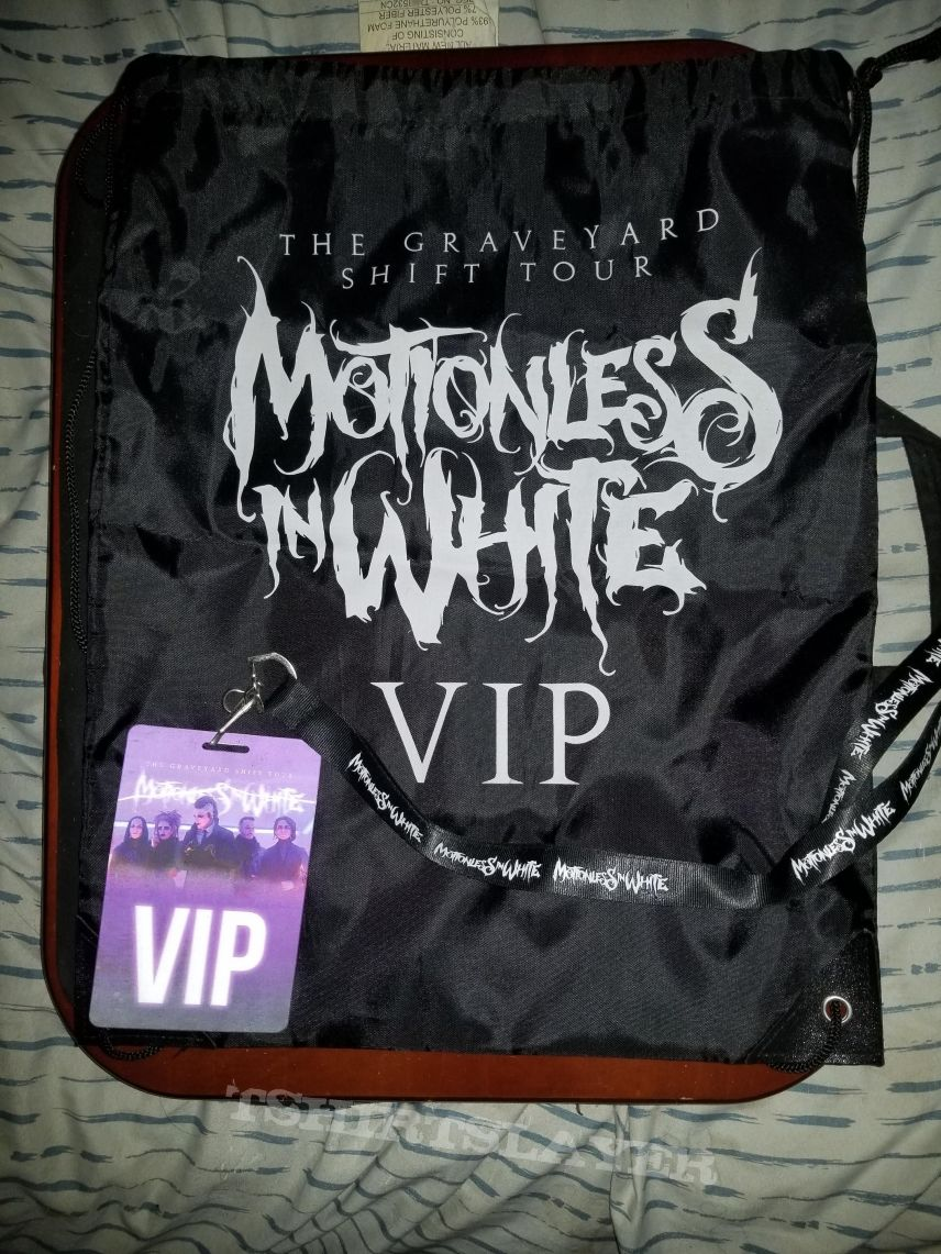Motionless in White VIP cinch bag and laminate/lanyard from Graveyard Shift tour