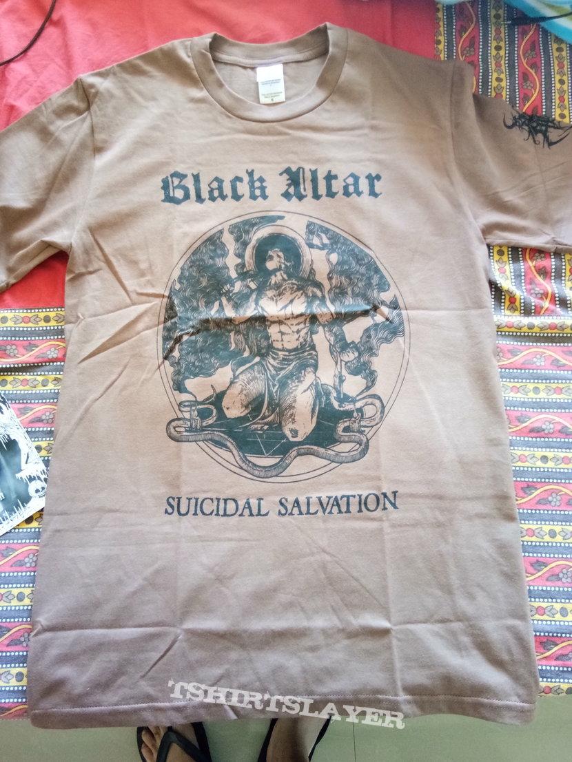 Black Altar official brown suicidal salvation tee