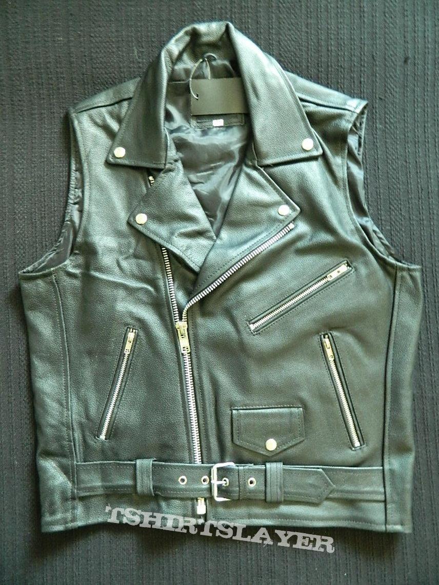 Watain leather biker vest waistcoat