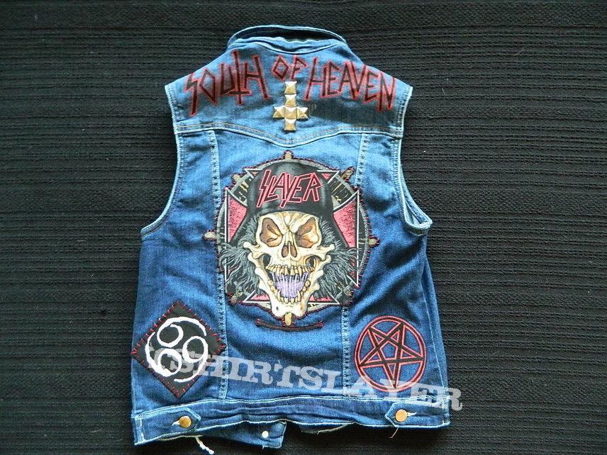 Slayer Denim Cut-Off Patch Waistcoat Battle Jacket Vest embroider