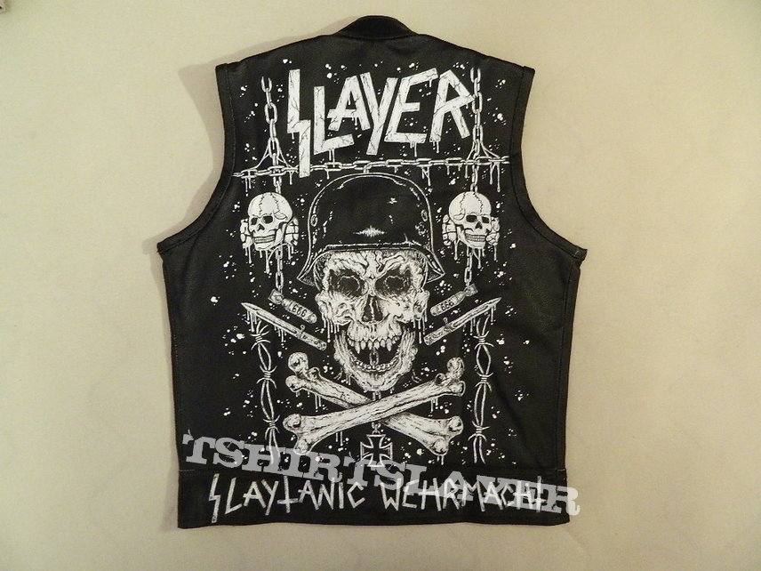 Slayer Slaytanic Wehrmacht leather vest hand painted