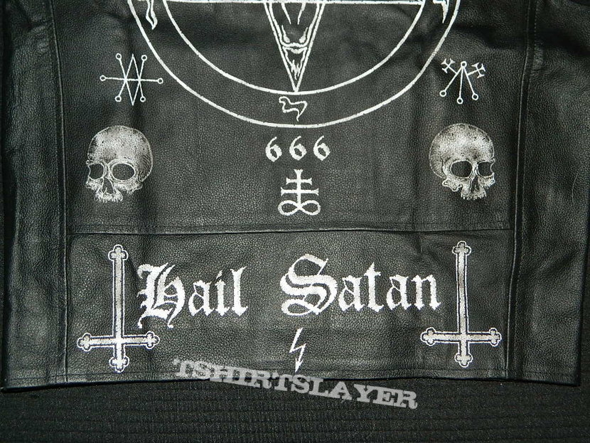 Satanic Hand Painted Leather Vest