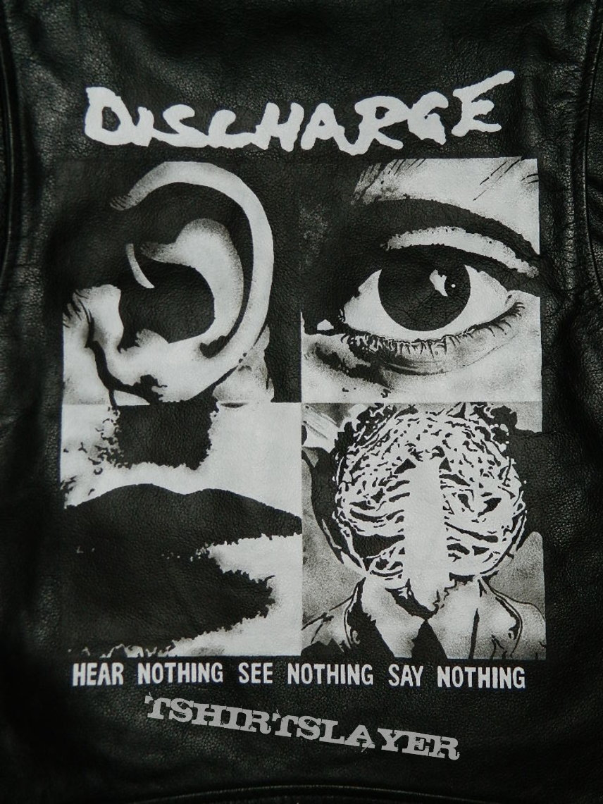 Sarcofago / Discharge hand painted custom leather jacket