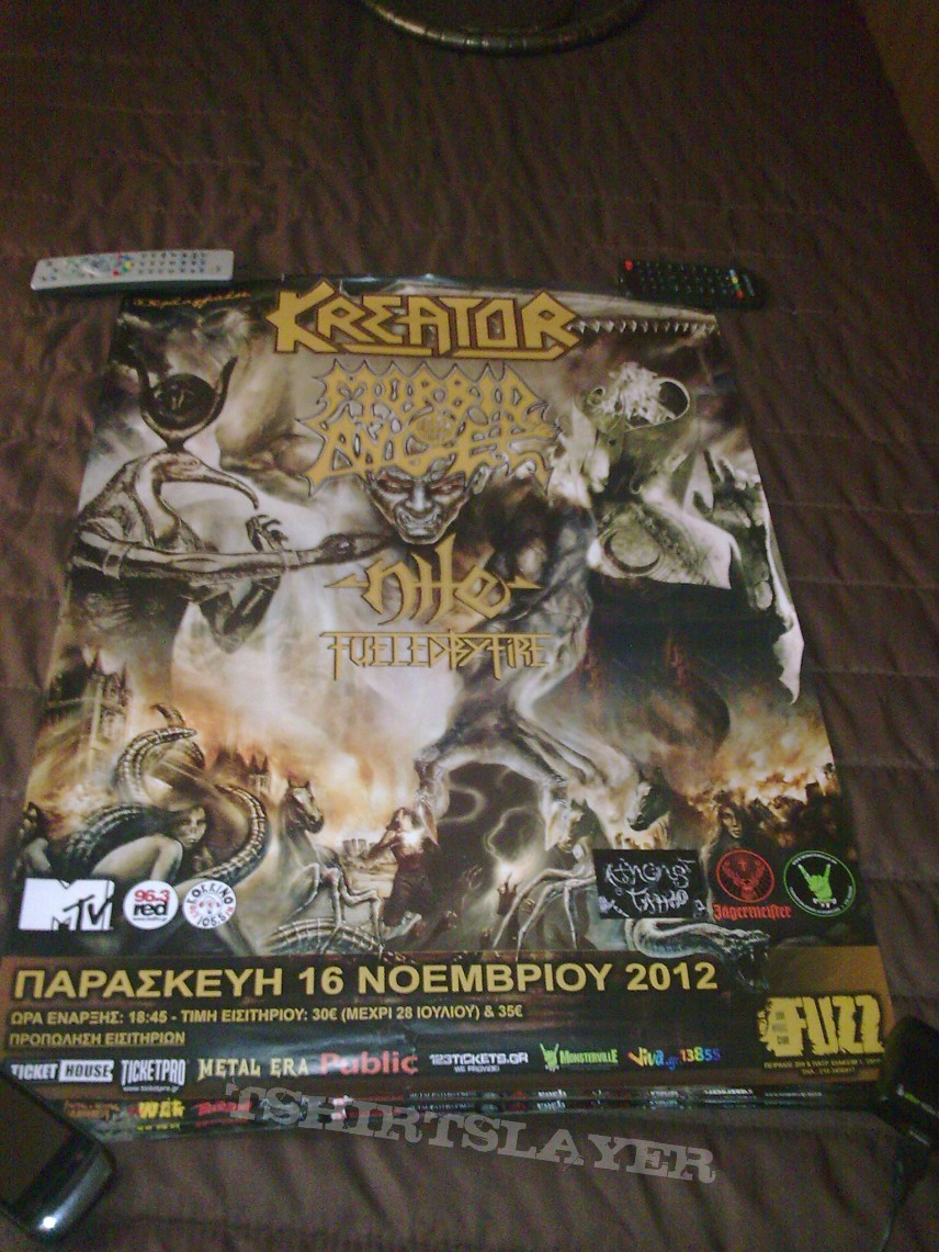 Kreator, Morbid Angel, Nile, Fueled by Fire event poster