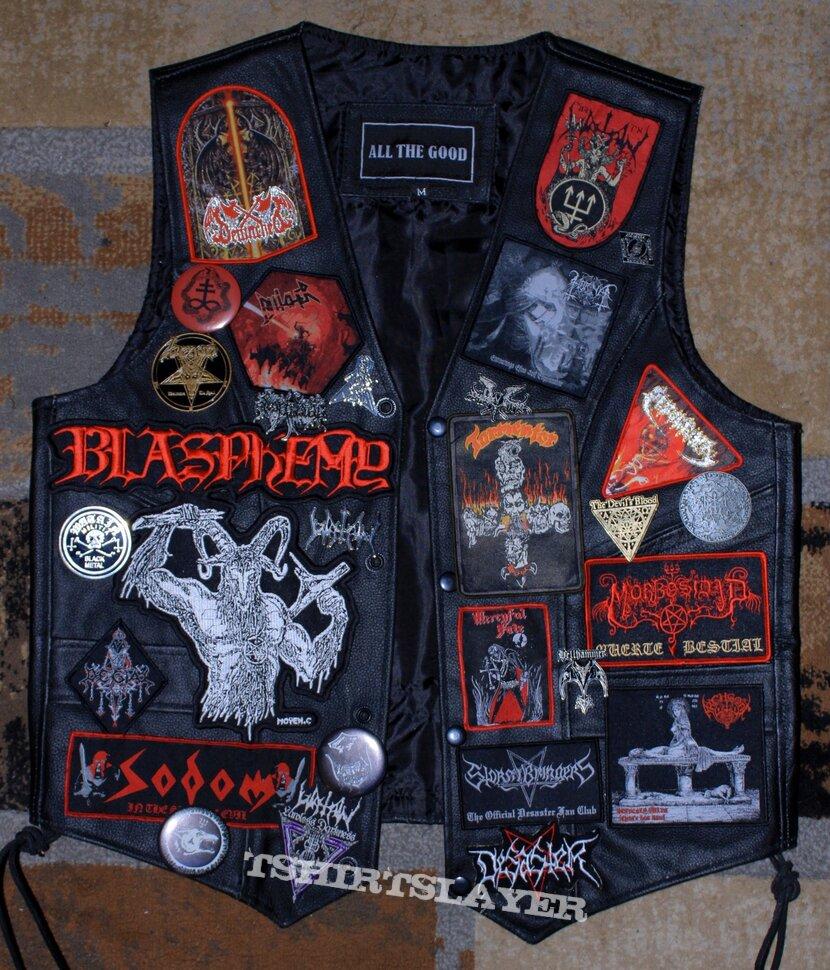 Red/black leather vest