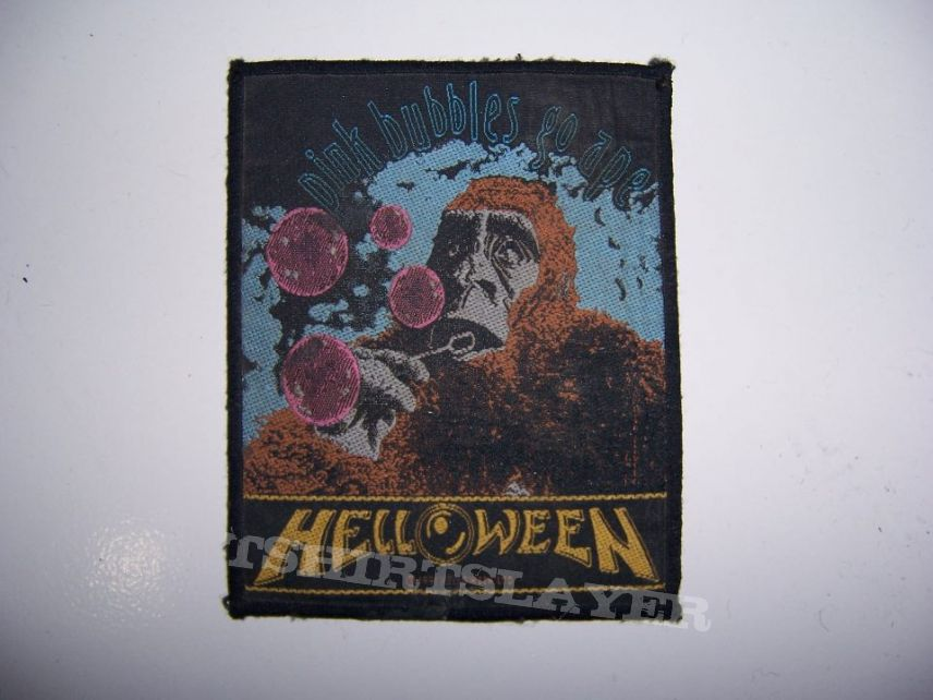 """Patch - Helloween """"Pink Bubbles Go Ape"""" Official Woven Patch"""