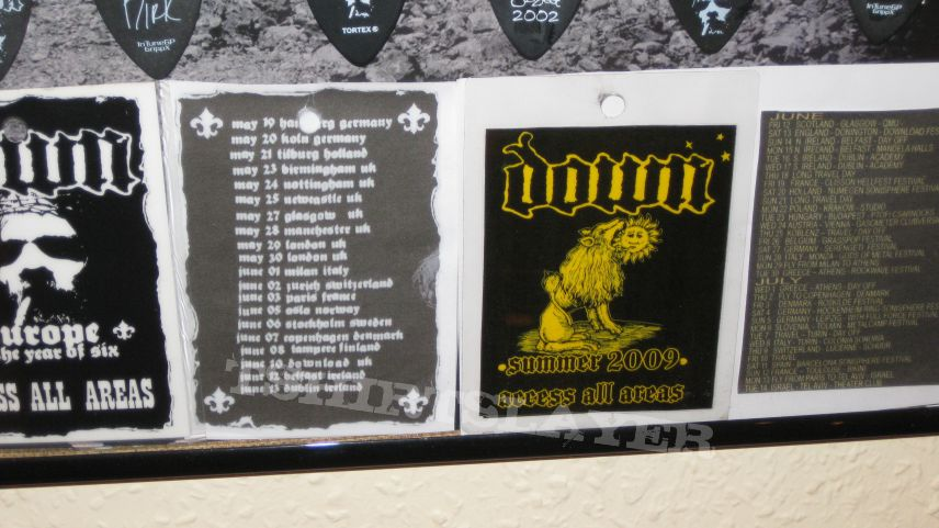 """Other Collectable - DOWN """"Collection Frame: Signed Poster, Pleks, Tour Passes"""" 2002 - 2011"""