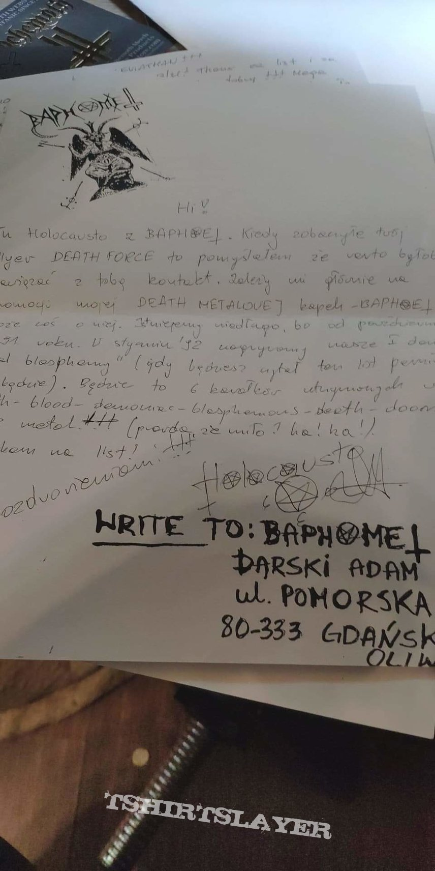 Behemoth - copy of Nergal letter (as Holocausto, band Baphomet)