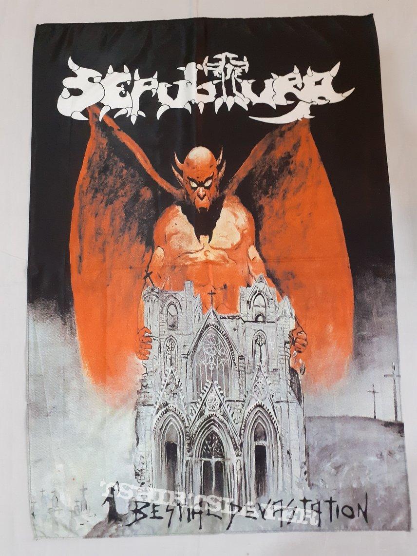 Sepultura Bestial devastation flag poster