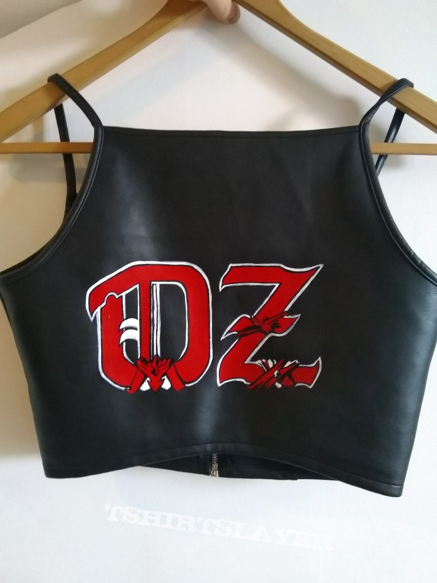 oz handpainted logo leather top