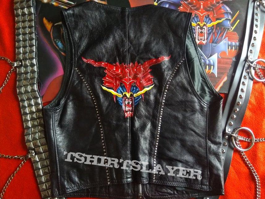 judas priest handpainted studded biker vest defenders of the faith
