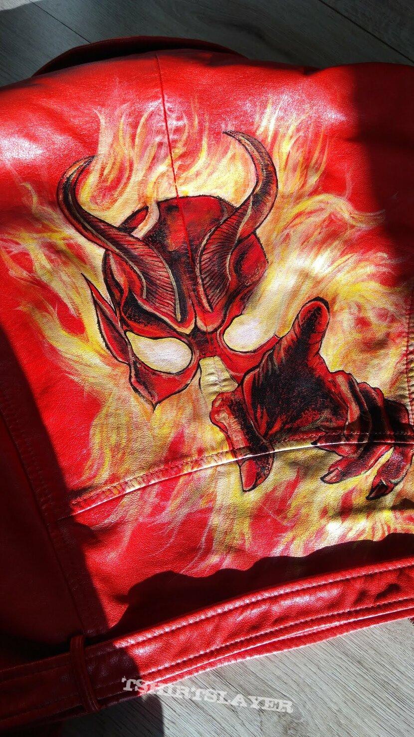 mercyful fate don't break the oath handpainted red pu biker jacket