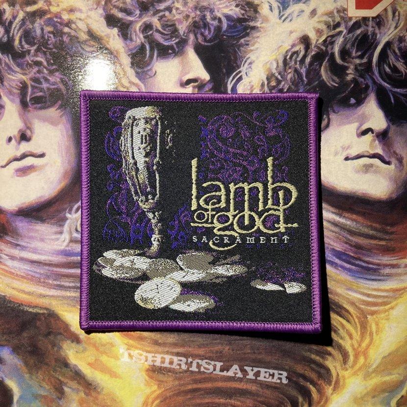 Lamb of God - Sacrament woven patch (purple border)