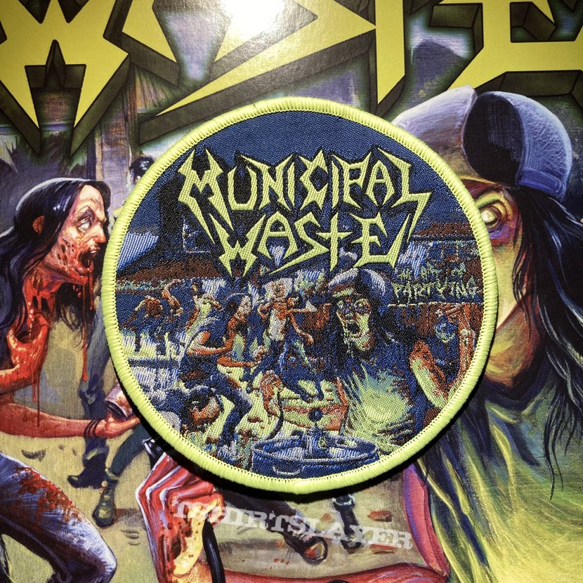 Municipal Waste - The Art of Partying woven circular patch (toxic green border)