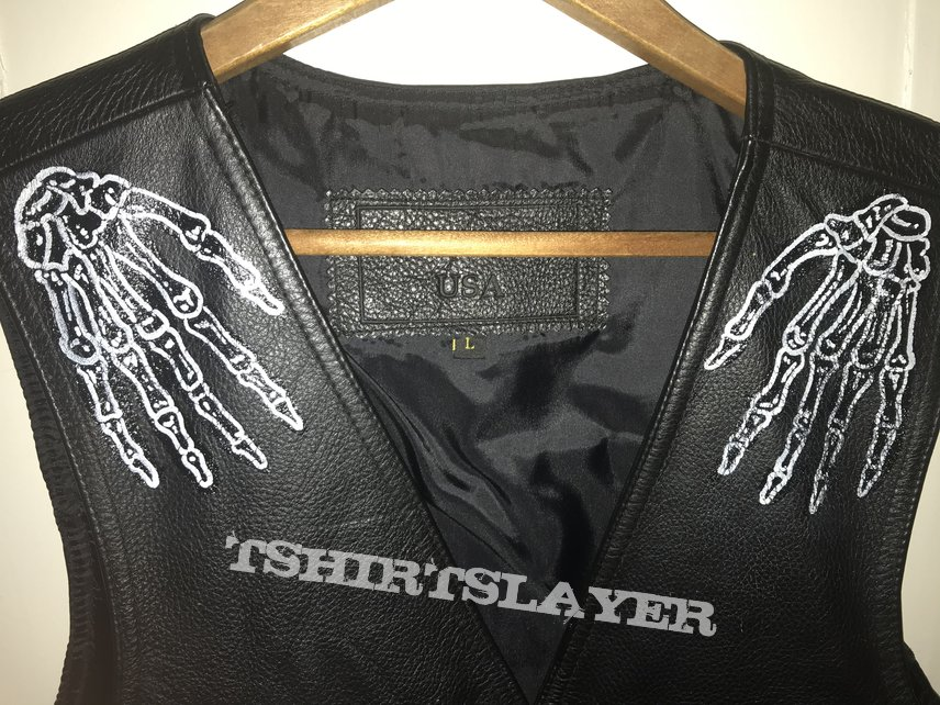 Hand painted Leather vest in black leather with white writing. Featuring bands and artists that were really doing the lower east side thing in the late 1970s