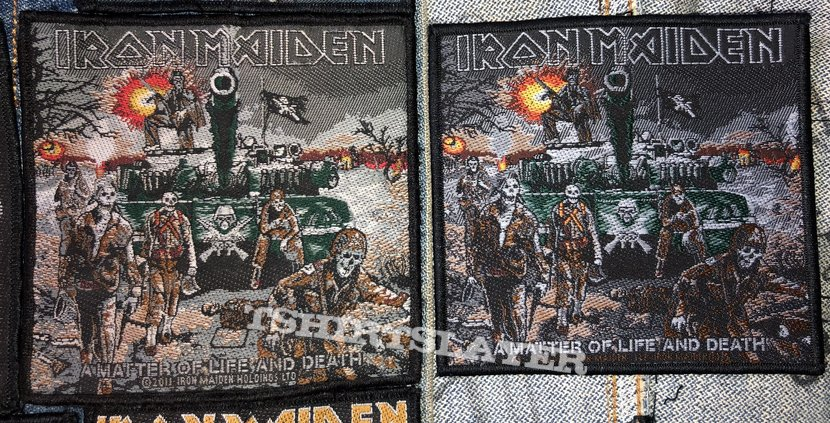 Iron Maiden - A Matter of Life and Death cover art patches (official 2011 and 2020)
