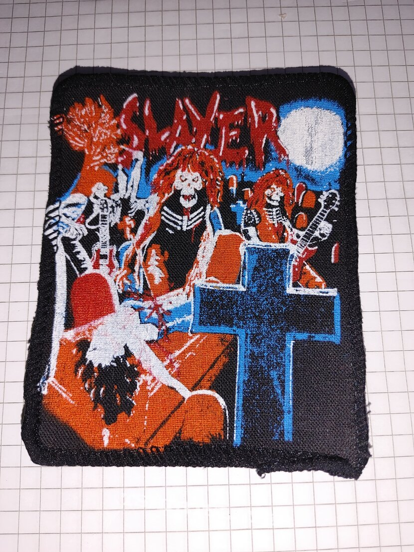 slayer live undead patch screen printing