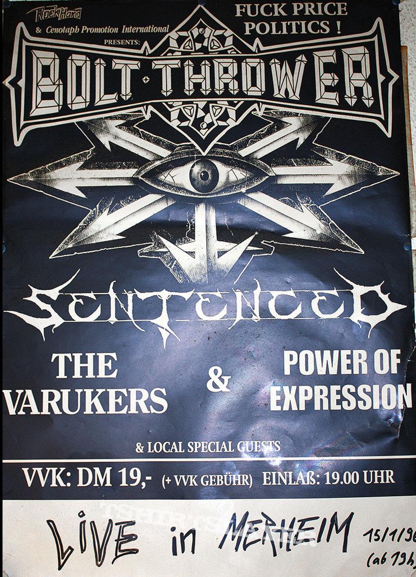 BOLT THROWER / SENTENCED - Fuck Price Politics Tour 1996 - Original Tourposter