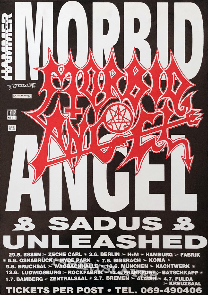 MORBID ANGEL / SADUS / UNLEASHED - Original Tour Poster from 1991 - Size A2