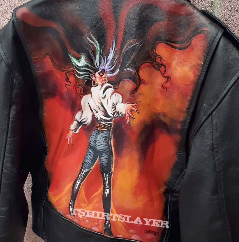 Ozzy Osbourne the ultimate sin painted leather jacket