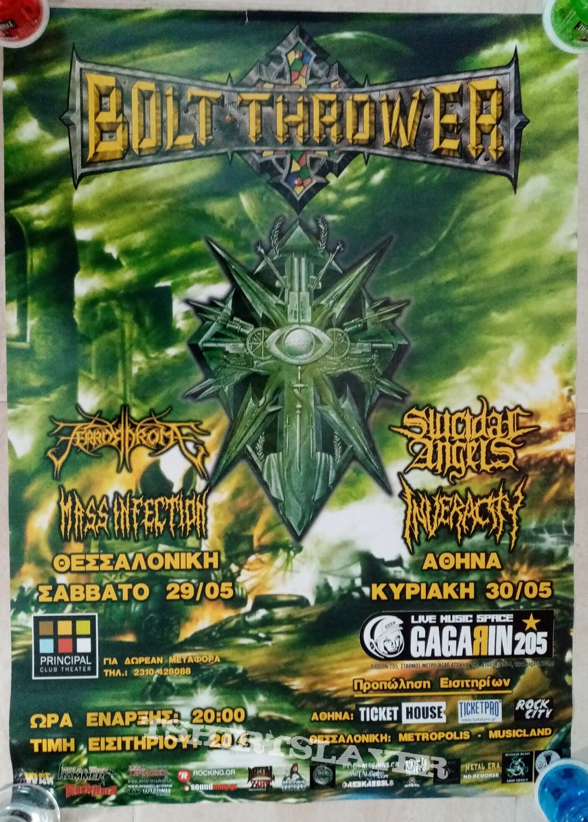 Bolt Thrower Suicidal Angels Inveracity Terrordrome Mass Infection - 29 & 30.05.2010 Official Concert Poster