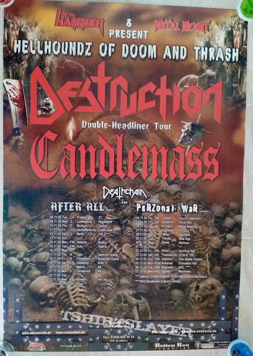 Destruction Candlemass Deathchain After All Perzonal War - 2005 Official European Tour Concert Poster