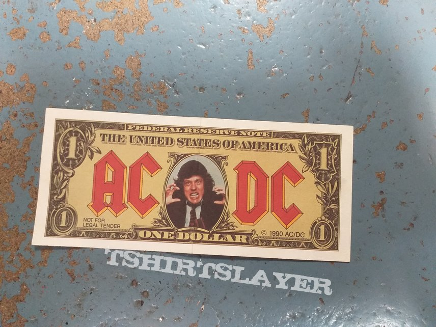 Ac/dc Angus Young dollar bill