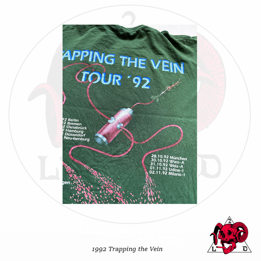 """©1992 Sodom - """"Tapping The Vein"""" Germany Tour Shirt (Olive Version)"""