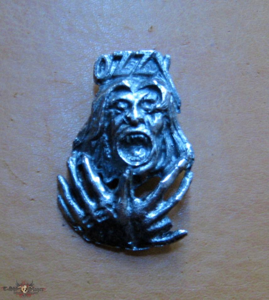 OZZY OSBOURNE Bark At The Moon vintage tin / pewter cast brooch