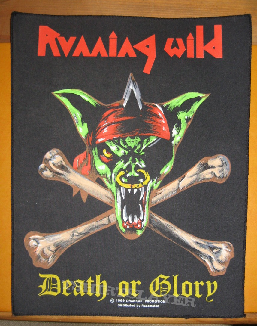 """RUNNING WILD """"Death or Glory"""" original backpatch"""