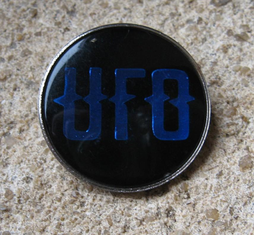UFO blue logo vintage crystal/enameled badge *SOLD*