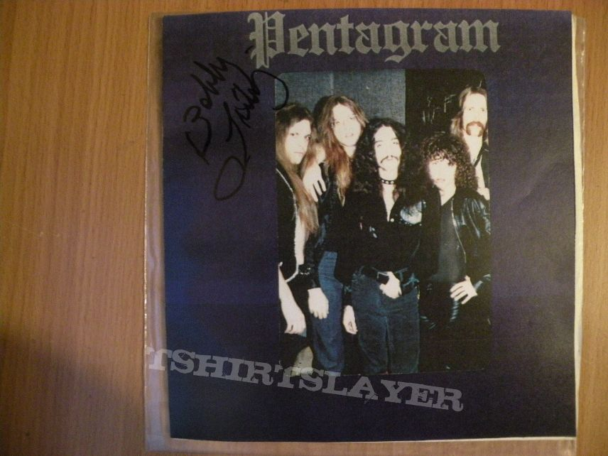 "HIGH VOLTAGE RECORDS T-Shirt PENTAGRAM Bobby Liebling Doom Metal 7/"" Ram/'s Head"