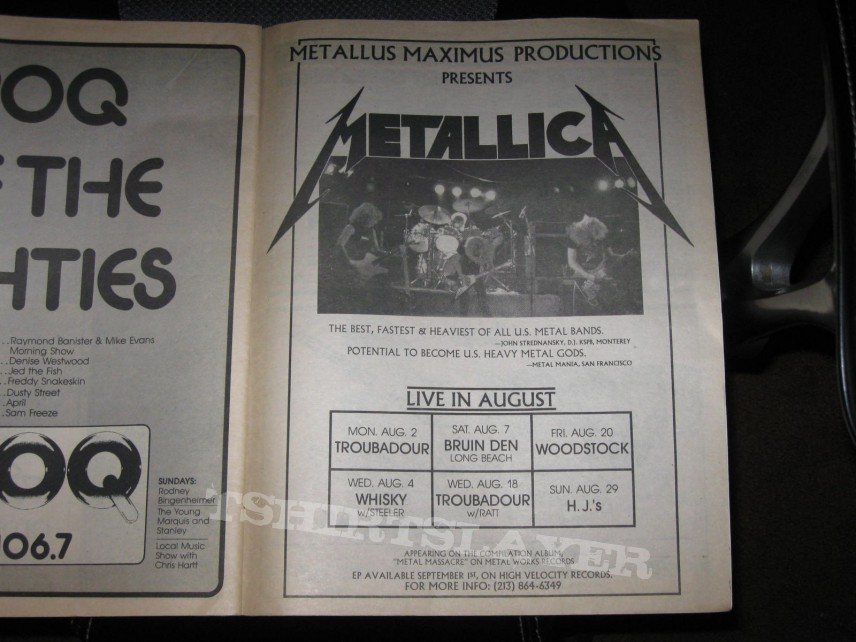 Other Collectable - July 30, 1982 BAM Metallica Ad