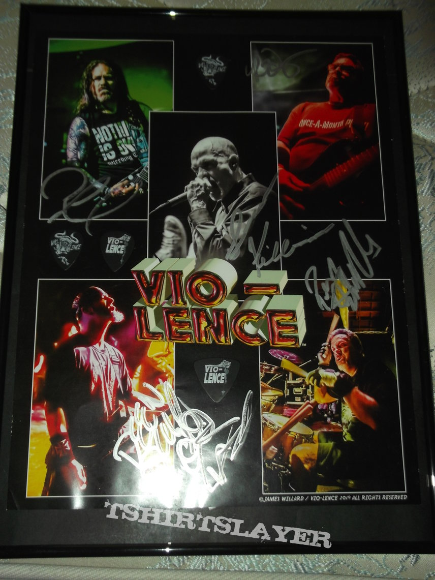 Vio-lence - poster fully signed by the whole band and framed along with 4 Guitar/Bass picks from the guys