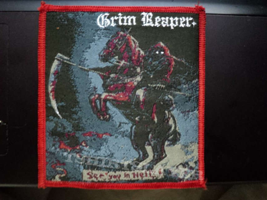 Grim Reaper 'See You In Hell' woven patch.