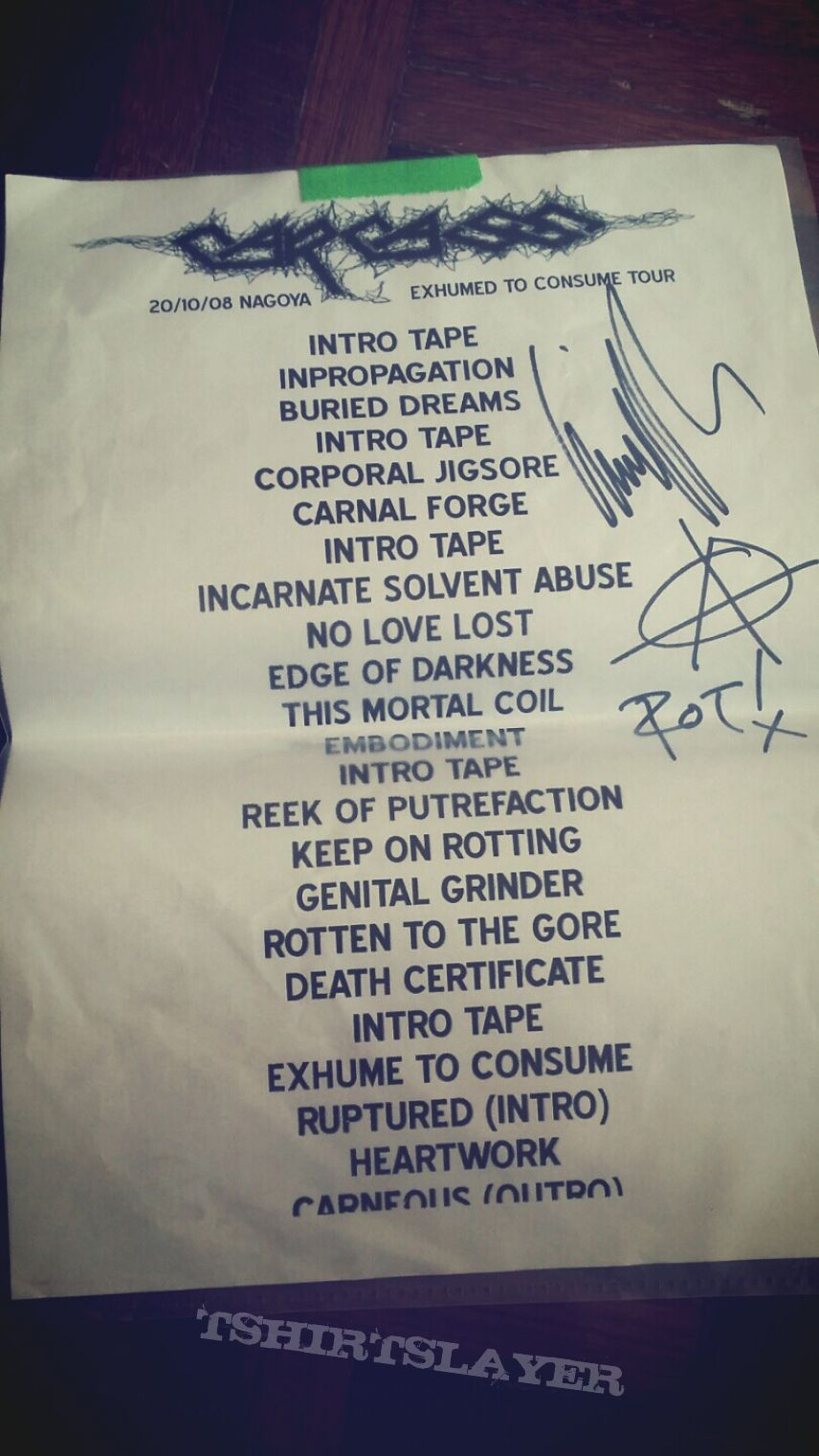Song list Nagoya 2008 signed