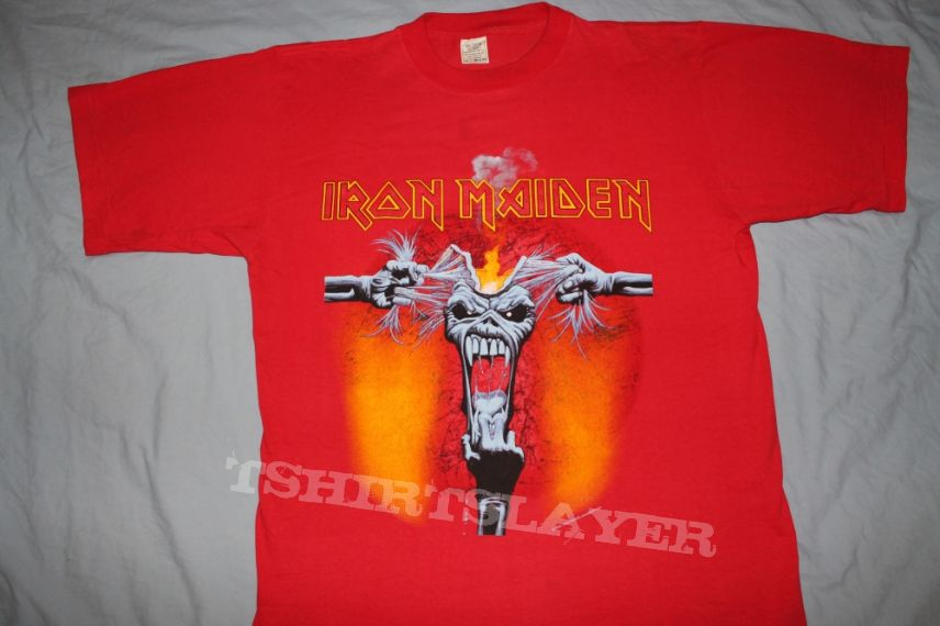 Iron Maiden Ripped Head red T