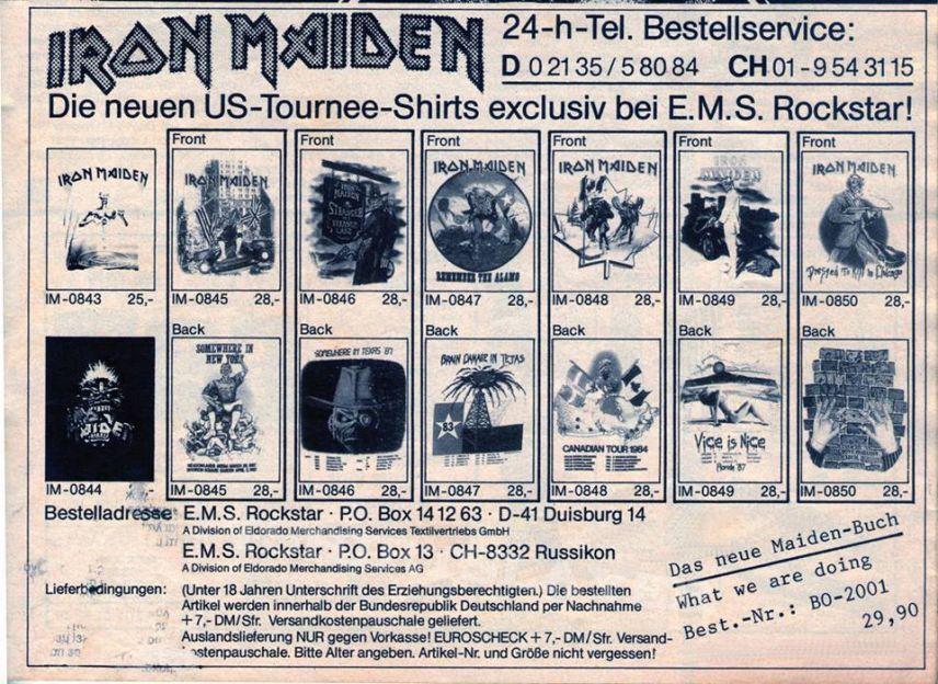 Iron Maiden Chicago 87 white T