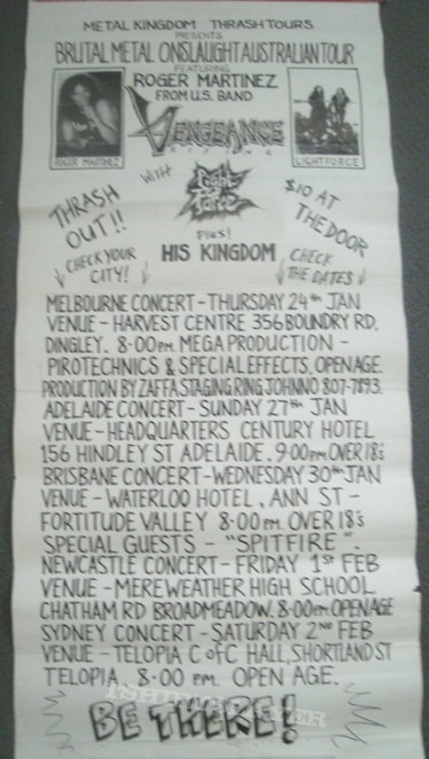 Lightforce -Australian Tour 1991 poster with Roger Martinez