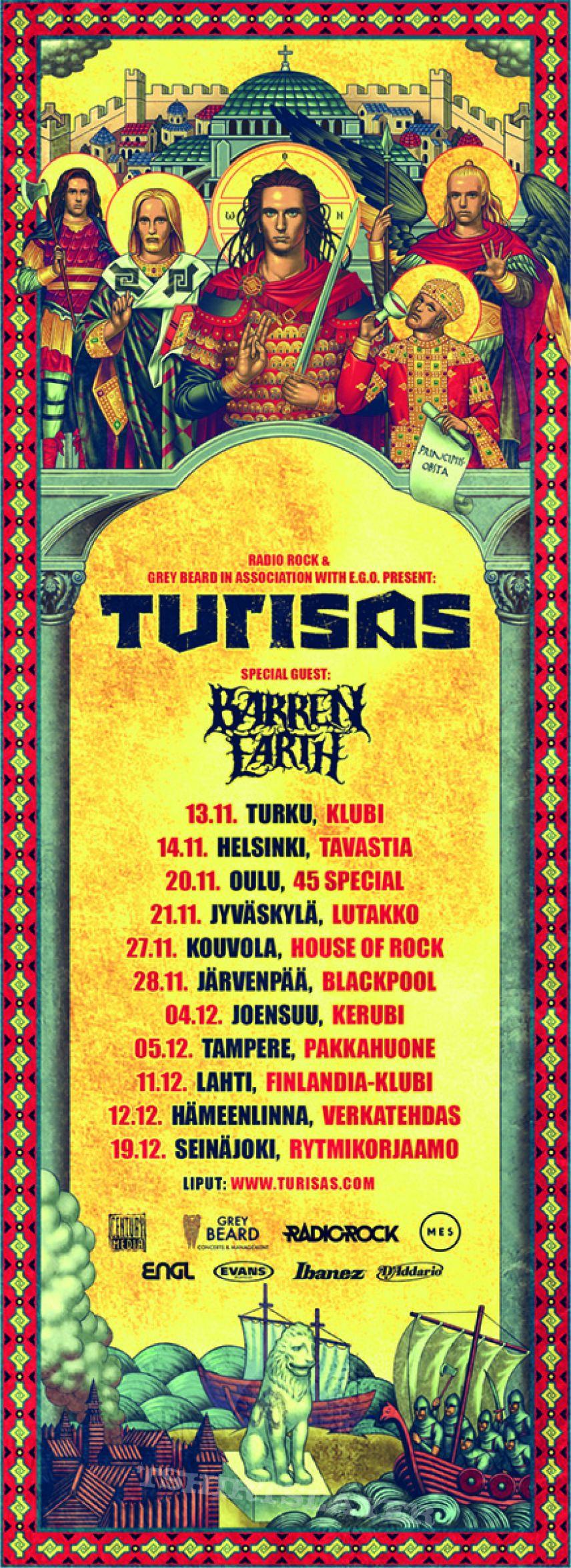 Barren Earth/Turisas Finland tour poster
