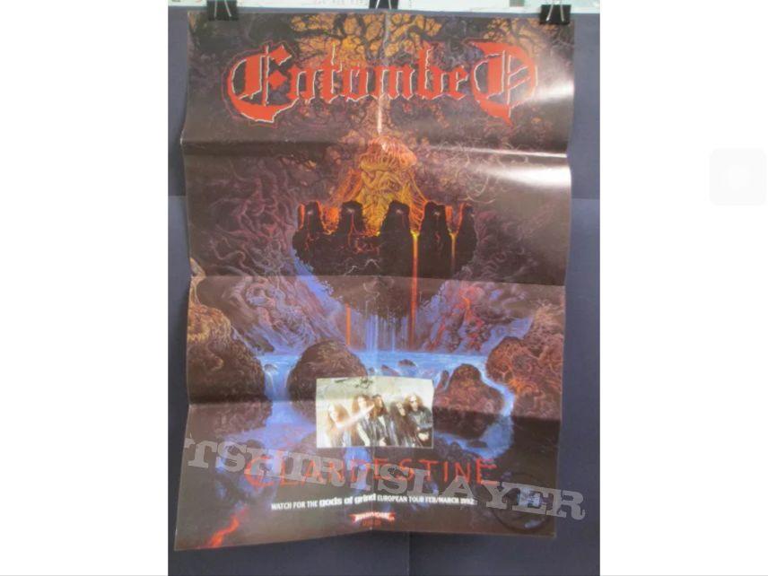 Og vintage  entombed clandestine promotional poster