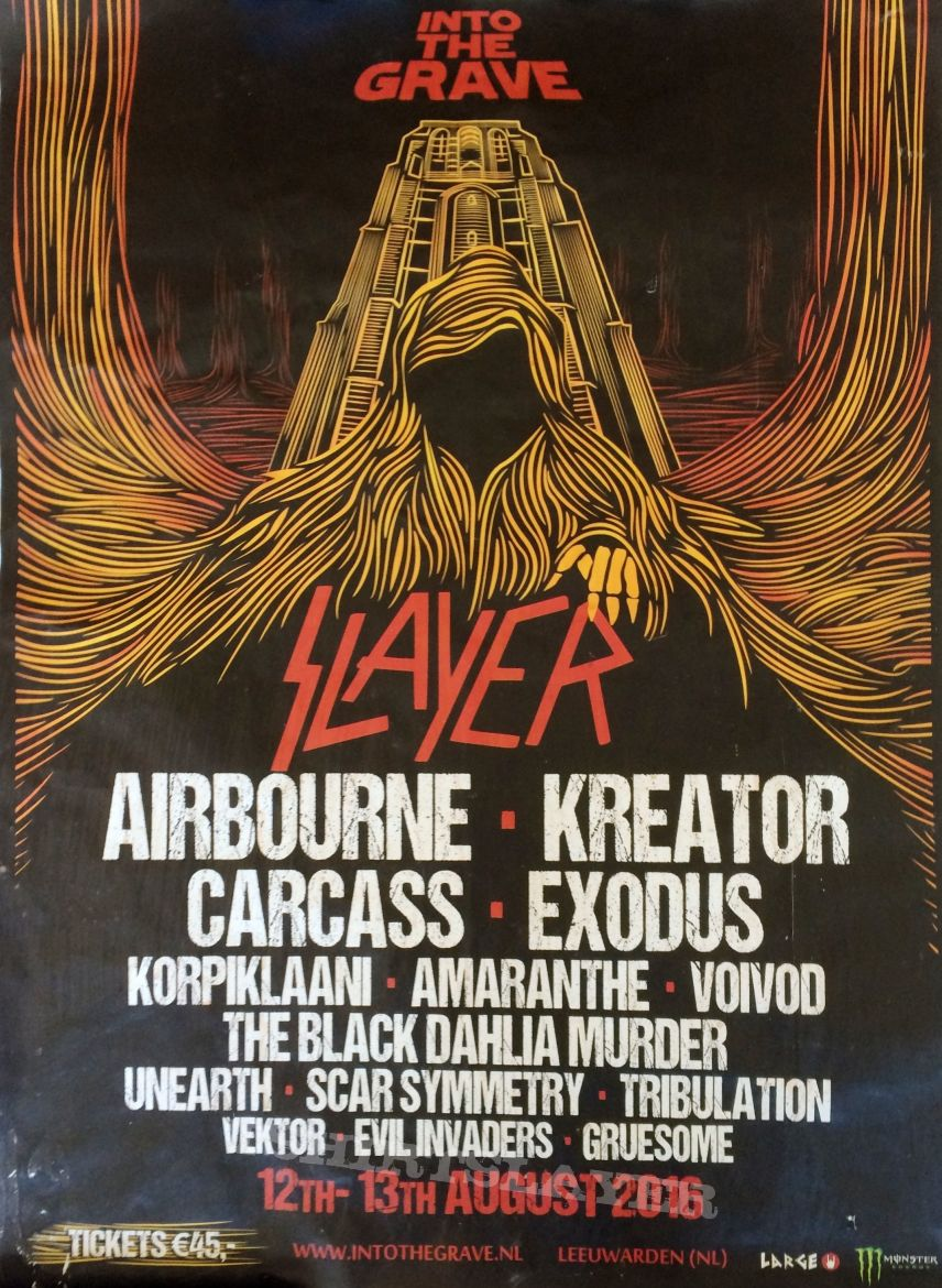 slayer into the grave tour poster 2016 aug 12th + 13th