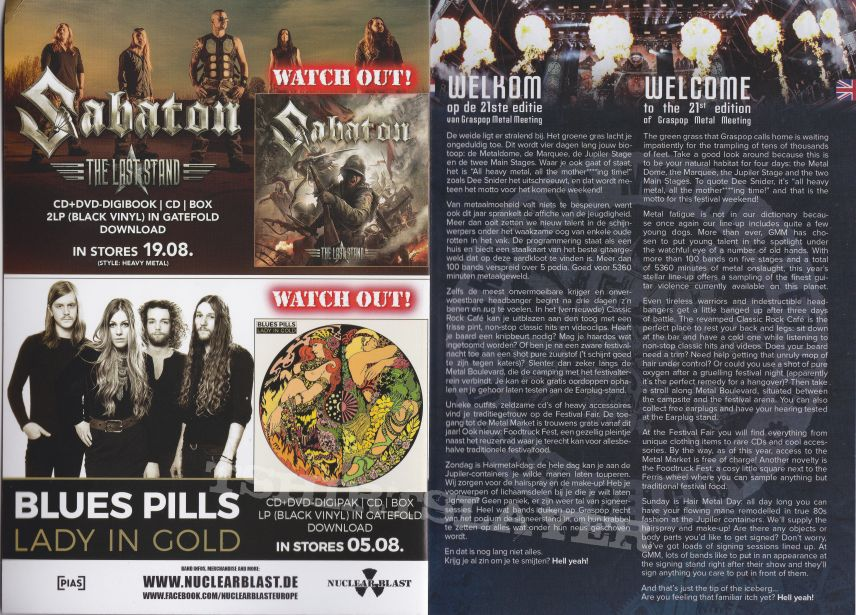 graspop festival info booklet 18th of june 2016 dessel belgium